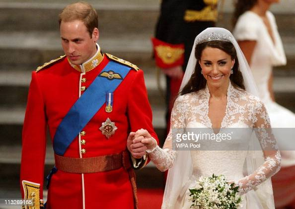 Prince William and Catherine Middleton leave Westminster Abbey after their Royal wedding ceremony on April 29 2011 in London England The marriage of...