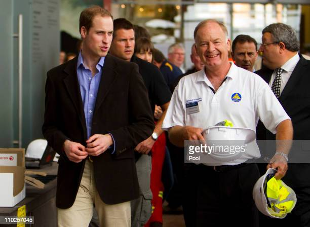 Prince William and Civil Defence controller John Hamilton visit the Emergency Command Centre on March 17 2011 in Christchurch New Zealand His Royal...