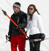 Prince William and girlfriend Kate Middleton use a Tbar drag lift whilst on a skiing holiday on March 19 2008 in Klosters Switzerland