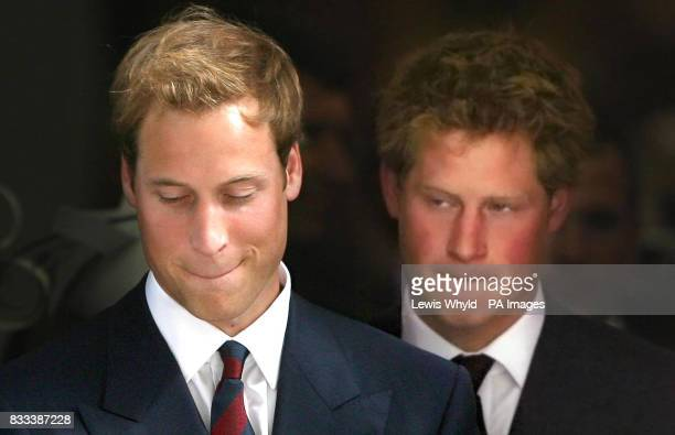 Prince William and Harry after the Service of Thanks giving for the life of Diana Princess of Wales at the Guards' Chapel London