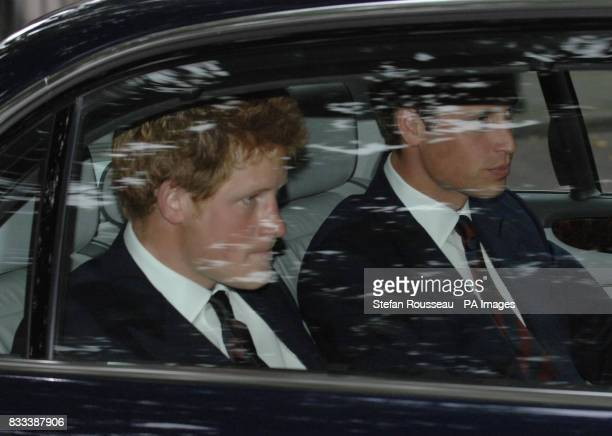 Prince William and Harry leave the Service of Thanksgiving for the life of Diana Princess of Wales at the Guards' Chapel London