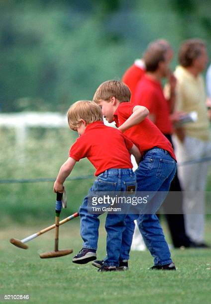 Prince William And His Brother Prince Harry Playing Their Own Version Of Polo