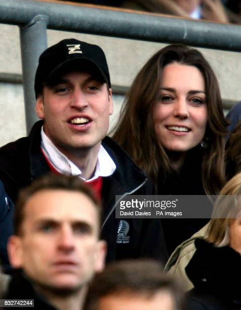 Prince William and his girlfriend Kate Middleton enjoy the rugby as England play Italy in the RBS Six Nations Championship at Twickenham