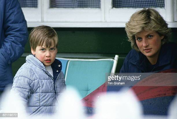 Prince William And His Mother Diana Princess Of Wales Taking Shelter From The Rain On A Wet Day At Guards Polo Club