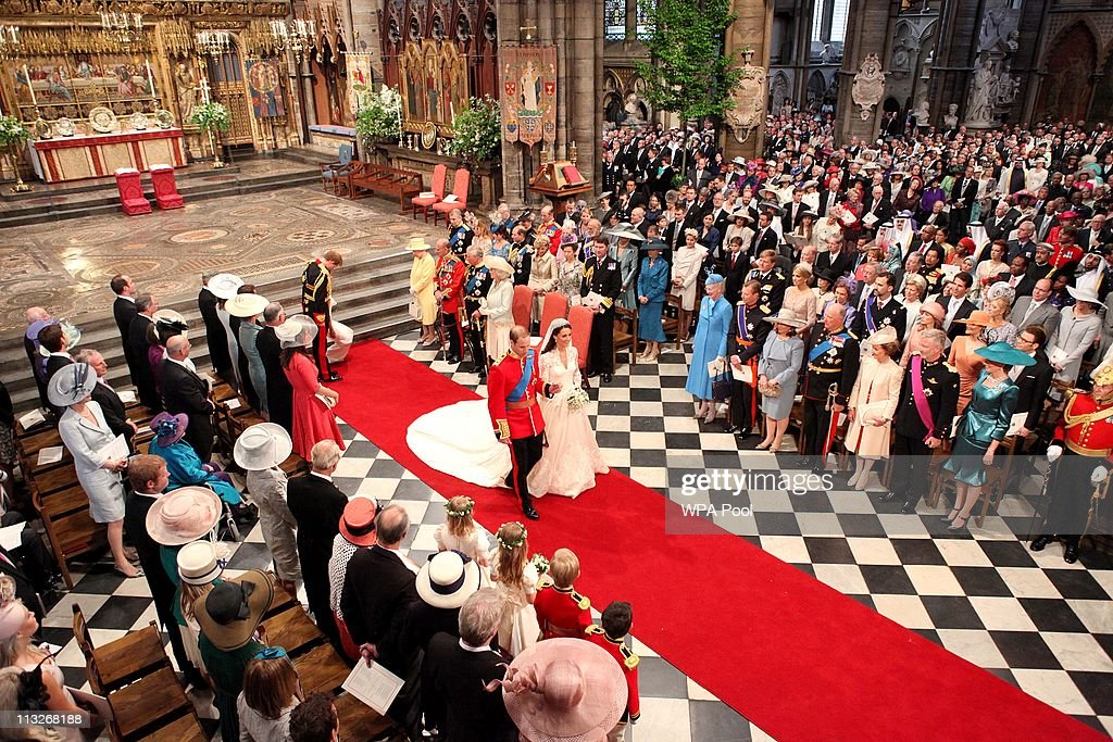 Prince William and his new bride Catherine Middleton walk down the aisle at the close of their wedding ceremony at Westminster Abbey on April 29 2011...