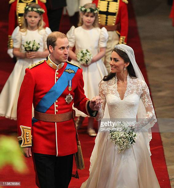 Prince William and his new wife Kate The Duchess of Cambridge walk down the aisle of Westminster Abbey after their wedding in London on April 29 2011...