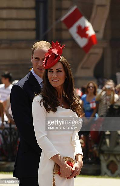 Prince William and his wife Catherine the Duchess of Cambridge arrive on Parliament Hill on Ottawa during Canada Day celebrations on the second day...