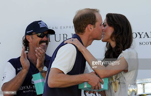 Prince William and Kate celebrate after his team won the round robin tournament at the Santa Barbara Polo Racquet Club in Carpinteria CA on Saturday...