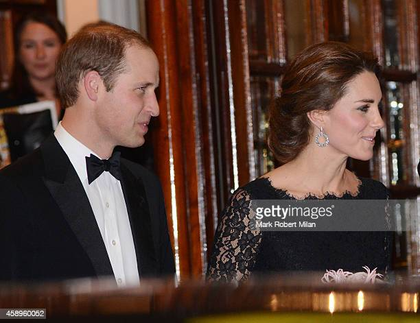 Prince William and Kate Middleton are seen leaving the Royal Variety Performance at the Palladium Theatre on November 13 2014 in London England