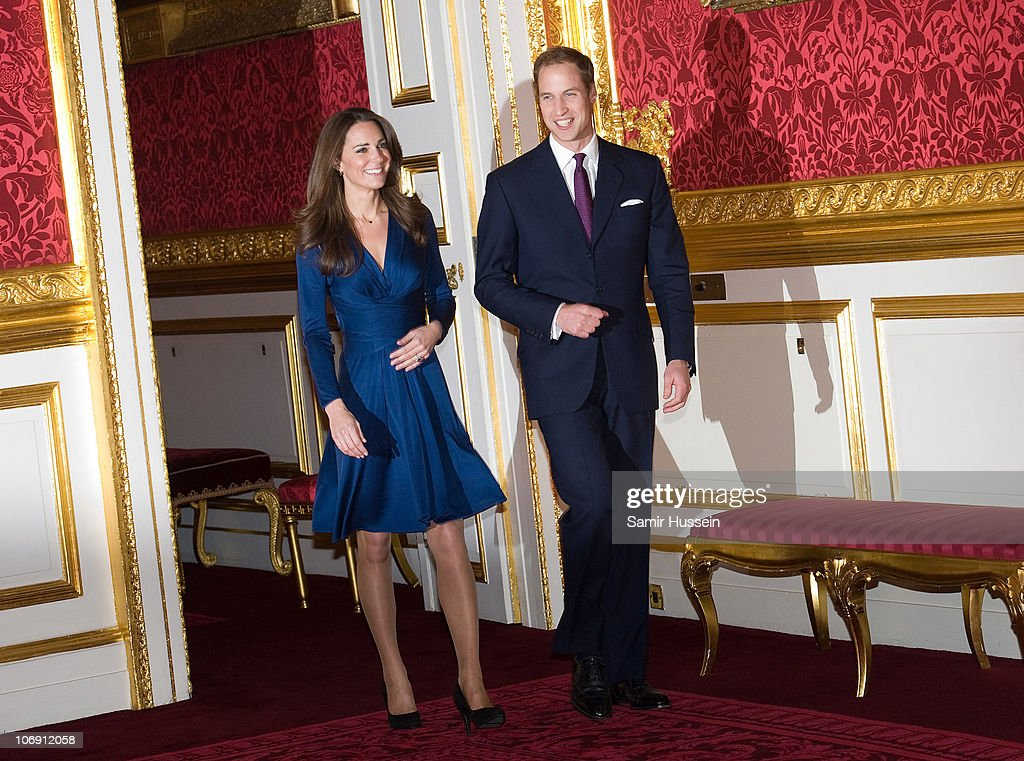 <a gi-track='captionPersonalityLinkClicked' href=/galleries/search?phrase=Prince+William&family=editorial&specificpeople=178205 ng-click='$event.stopPropagation()'>Prince William</a> and Kate Middleton arrive to pose for photographs in the State Apartments of St James Palace on November 16, 2010 in London, England. After much speculation, Clarence House today announced the engagement of <a gi-track='captionPersonalityLinkClicked' href=/galleries/search?phrase=Prince+William&family=editorial&specificpeople=178205 ng-click='$event.stopPropagation()'>Prince William</a> to Kate Middleton. The couple will get married in either the Spring or Summer of next year and continue to live in North Wales while <a gi-track='captionPersonalityLinkClicked' href=/galleries/search?phrase=Prince+William&family=editorial&specificpeople=178205 ng-click='$event.stopPropagation()'>Prince William</a> works as an air sea rescue pilot for the RAF. The couple became engaged during a recent holiday in Kenya having been together for eight years.