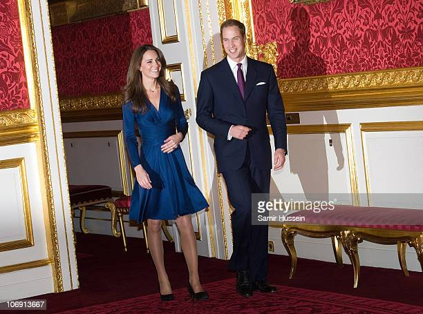 Prince William and Kate Middleton arrive to pose for photographs in the State Apartments of St James Palace on November 16 2010 in London England...