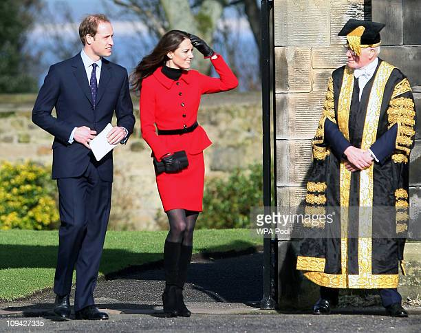 Prince William and Kate Middleton look toward Sir Menzies Campbell during a visit to the University of St Andrews on February 25 2011 in St Andrews...