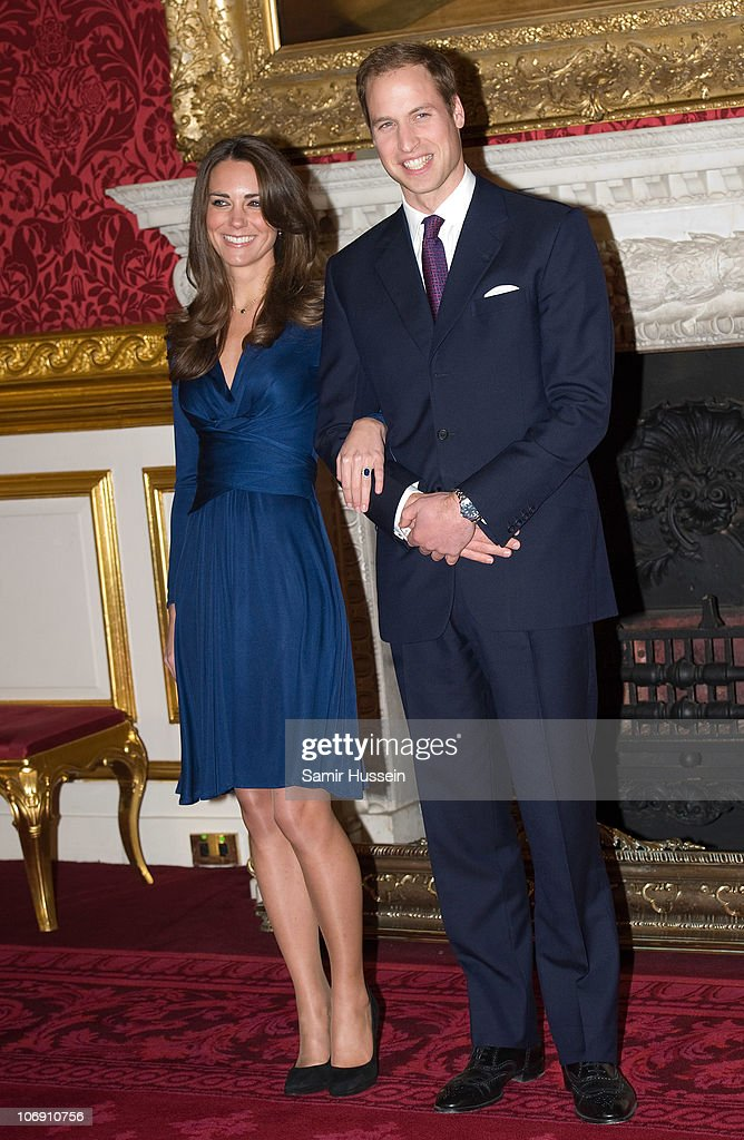 <a gi-track='captionPersonalityLinkClicked' href=/galleries/search?phrase=Prince+William&family=editorial&specificpeople=178205 ng-click='$event.stopPropagation()'>Prince William</a> and Kate Middleton officially announce their engagement at St James's Palace on November 16, 2010 in London, England. After much speculation, Clarence House today announced the engagement of <a gi-track='captionPersonalityLinkClicked' href=/galleries/search?phrase=Prince+William&family=editorial&specificpeople=178205 ng-click='$event.stopPropagation()'>Prince William</a> to Kate Middleton. The couple will get married in either the Spring or Summer of next year and continue to live in North Wales while <a gi-track='captionPersonalityLinkClicked' href=/galleries/search?phrase=Prince+William&family=editorial&specificpeople=178205 ng-click='$event.stopPropagation()'>Prince William</a> works as an air sea rescue pilot for the RAF. The couple became engaged during a recent holiday in Kenya having been together for eight years.