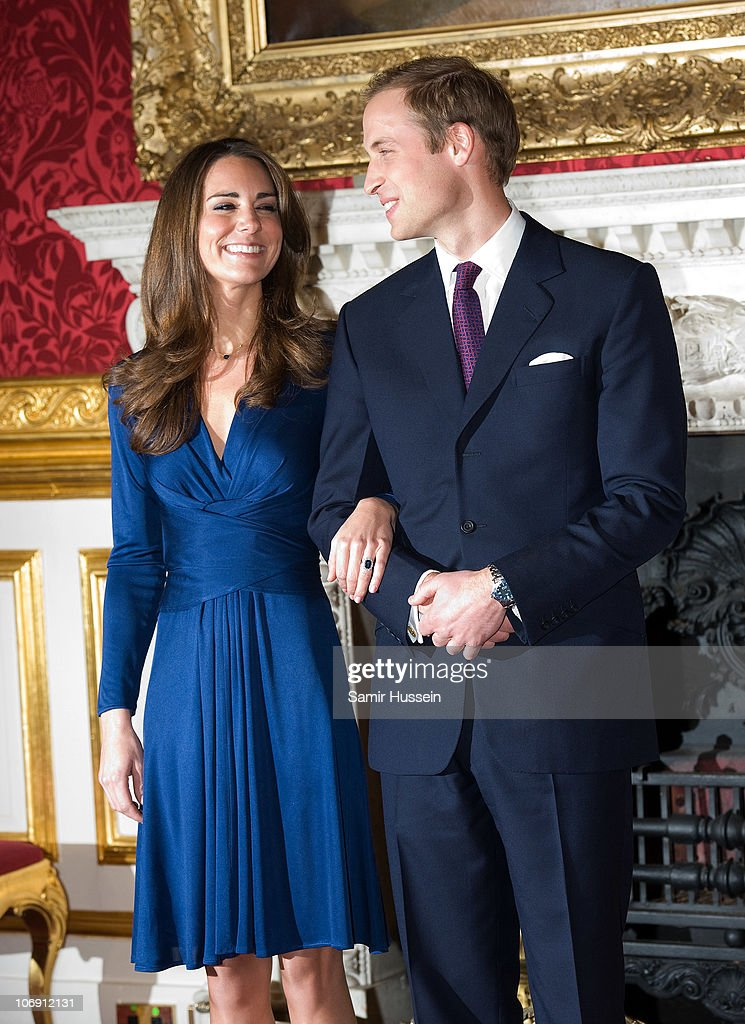 <a gi-track='captionPersonalityLinkClicked' href=/galleries/search?phrase=Prince+William&family=editorial&specificpeople=178205 ng-click='$event.stopPropagation()'>Prince William</a> and Kate Middleton pose for photographs in the State Apartments of St James Palace on November 16, 2010 in London, England. After much speculation, Clarence House today announced the engagement of <a gi-track='captionPersonalityLinkClicked' href=/galleries/search?phrase=Prince+William&family=editorial&specificpeople=178205 ng-click='$event.stopPropagation()'>Prince William</a> to Kate Middleton. The couple will get married in either the Spring or Summer of next year and continue to live in North Wales while <a gi-track='captionPersonalityLinkClicked' href=/galleries/search?phrase=Prince+William&family=editorial&specificpeople=178205 ng-click='$event.stopPropagation()'>Prince William</a> works as an air sea rescue pilot for the RAF. The couple became engaged during a recent holiday in Kenya having been together for eight years.