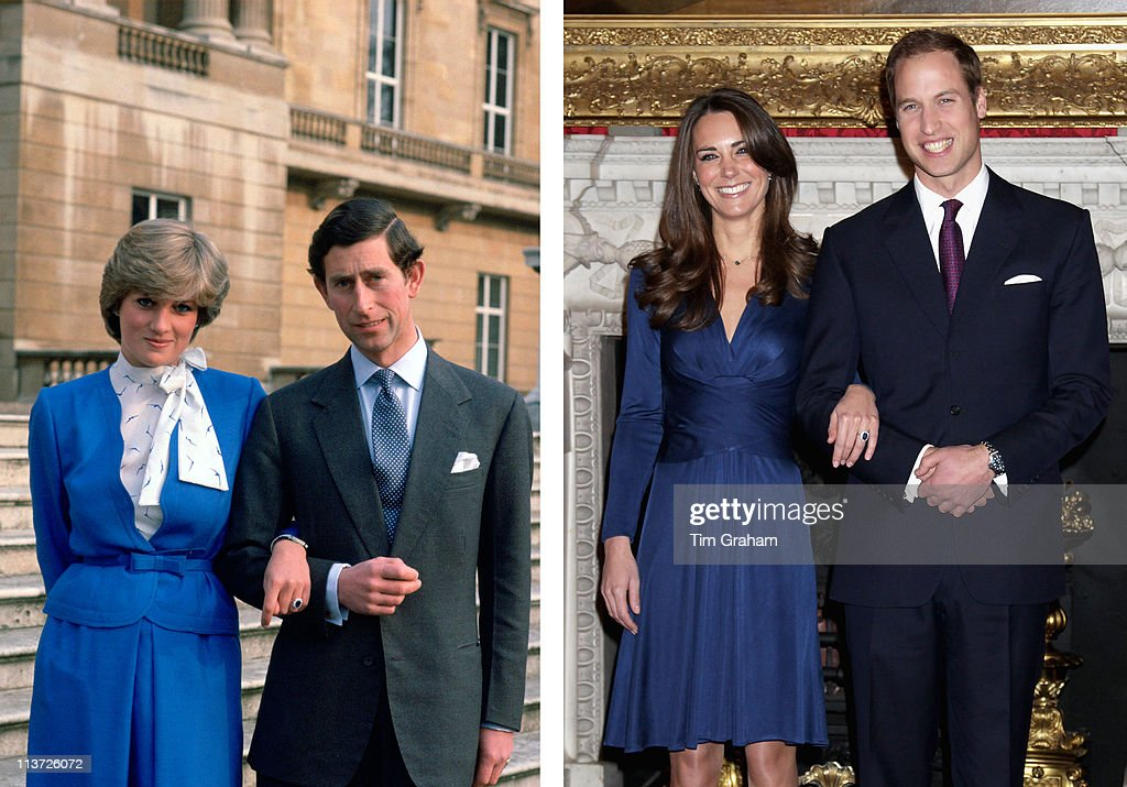PHOTO) In this photo composite image a comparison has been made between the engagement announcements of <a gi-track='captionPersonalityLinkClicked' href=/galleries/search?phrase=Prince+Charles&family=editorial&specificpeople=160180 ng-click='$event.stopPropagation()'>Prince Charles</a>, Prince of Wales and Lady Diana Spencer and <a gi-track='captionPersonalityLinkClicked' href=/galleries/search?phrase=Prince+William&family=editorial&specificpeople=178205 ng-click='$event.stopPropagation()'>Prince William</a> to <a gi-track='captionPersonalityLinkClicked' href=/galleries/search?phrase=Catherine+-+Duchess+of+Cambridge&family=editorial&specificpeople=542588 ng-click='$event.stopPropagation()'>Catherine</a> Middleton.(Left Image) LONDON, UNITED KINGDOM - FEBRUARY 24: <a gi-track='captionPersonalityLinkClicked' href=/galleries/search?phrase=Prince+Charles&family=editorial&specificpeople=160180 ng-click='$event.stopPropagation()'>Prince Charles</a> Arm-in-arm With His Fiance, Lady Diana Spencer, On The Steps Of Buckingham Palace For A Photocall On The Day They Announced Their Engagement. (Photo by Tim Graham/Getty Images) (Right Image) LONDON, ENGLAND - NOVEMBER 16: <a gi-track='captionPersonalityLinkClicked' href=/galleries/search?phrase=Prince+William&family=editorial&specificpeople=178205 ng-click='$event.stopPropagation()'>Prince William</a> and Kate Middleton pose for photographs in the State Apartments of St James Palace on November 16, 2010 in London, England. After much speculation, Clarence House today announced the engagement of <a gi-track='captionPersonalityLinkClicked' href=/galleries/search?phrase=Prince+William&family=editorial&specificpeople=178205 ng-click='$event.stopPropagation()'>Prince William</a> to Kate Middleton. The couple will get married in either the Spring or Summer of next year and continue to live in North Wales while <a gi-track='captionPersonalityLinkClicked' href=/galleries/search?phrase=Prince+William&family=editorial&specificpeople=1782