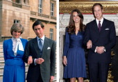 PHOTO In this photo composite image a comparison has been made between the engagement announcements of Prince Charles Prince of Wales and Lady Diana...