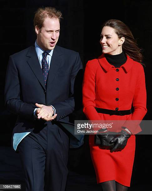 Prince William and Kate Middleton smile as they visit the University of St Andrews on February 25 2011 in St Andrews Scotland The couple returned to...