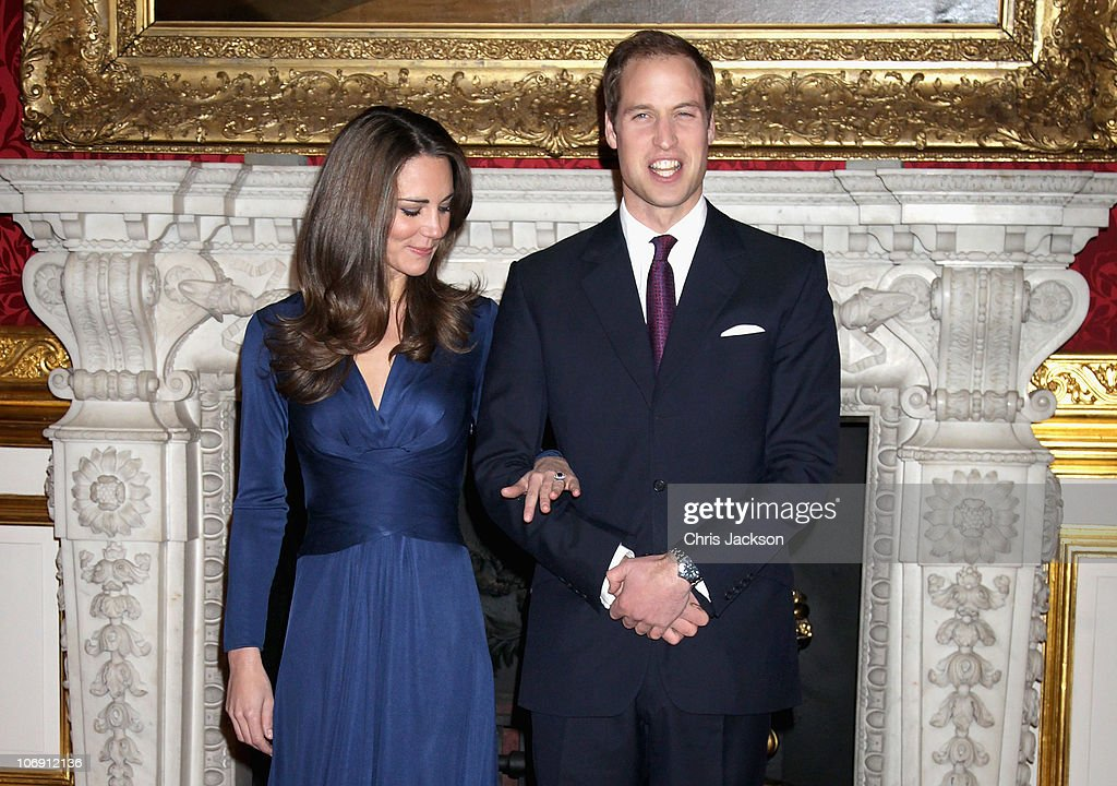 Prince William and Kate Middletonarrive to pose for photographs in the State Apartments of St James Palace on November 16, 2010 in London, England. After much speculation, Clarence House today announced the engagement of Prince William to Kate Middleton. The couple will get married in either the Spring or Summer of next year and continue to live in North Wales while Prince William works as an air sea rescue pilot for the RAF. The couple became engaged during a recent holiday in Kenya having been together for eight years.