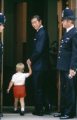 Prince William and Prince Charles arrive at St Mary's Hospital on September 15th 1984 Paddington London England to visit his newborn brother Prince...