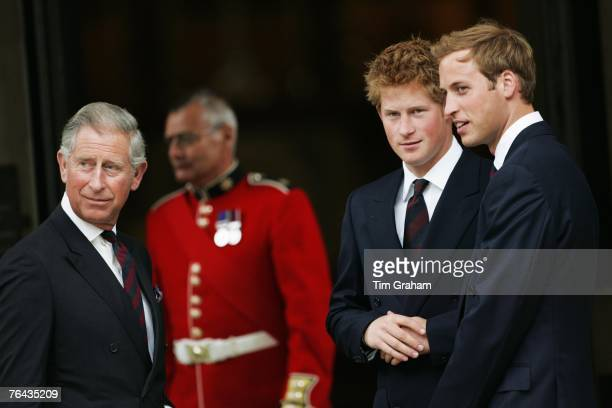 Prince William and Prince Harry and their father Prince Charles Prince of Wales attend the 10th Anniversary Memorial Service For Diana Princess of...