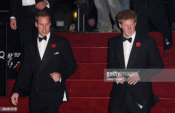 Prince William and Prince Harry arrive for the Royal World Premiere of the new James Bond 007 film 'Quantum of Solace' at the Odeon Leicester Square...