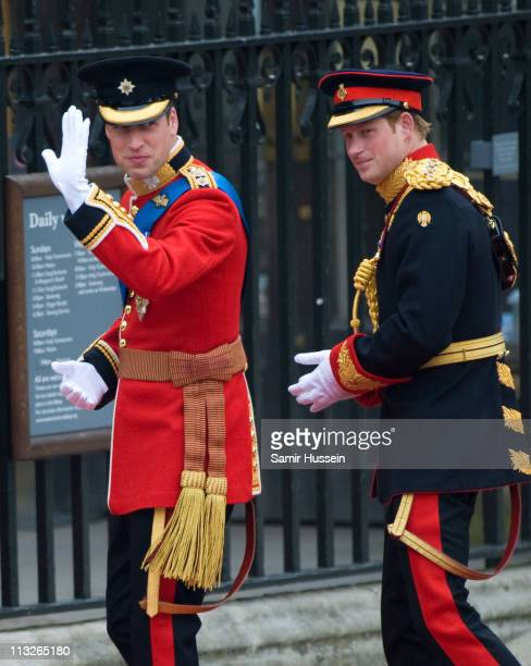 Prince William and Prince Harry arrive to attend the Royal Wedding of Prince William to Catherine Middleton at Westminster Abbey on April 29 2011 in...