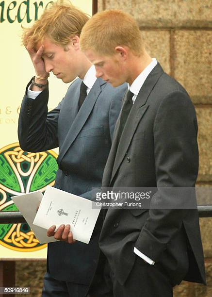 Prince William and Prince Harry follow the coffin of their grandmother and Princess Diana's mother Frances Shand Kydd at the Cathedral of Saint...