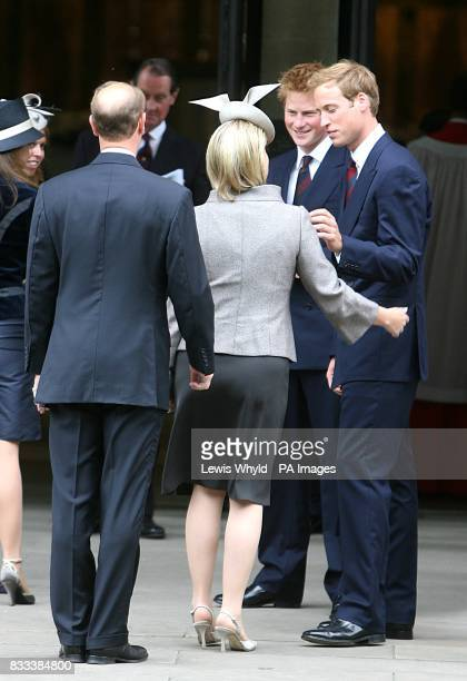 Prince William and Prince Harry greet Prince Edward Earl of Wessex and Sophie Countess of Wessex at the Service of Thanksgiving for the life of Diana...