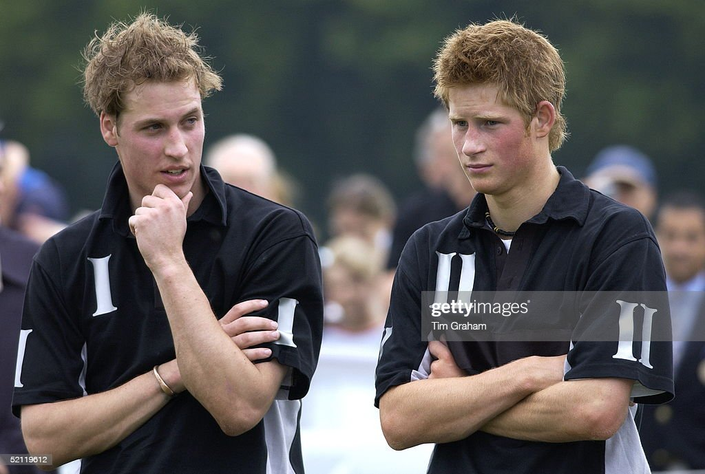 Prince William (wearing No. 1 On His Polo Shirt) And <a gi-track='captionPersonalityLinkClicked' href=/galleries/search?phrase=Prince+Harry&family=editorial&specificpeople=178173 ng-click='$event.stopPropagation()'>Prince Harry</a> (wearing No. 2 On His Polo Shirt) Looking Tired After Playing For The Mercedes-amg Polo Team The Beaufort Team At Beaufort Polo Club.