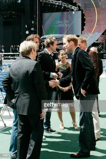 Prince William and Prince Harry meet singer Nelly Furtado and members of the band Duran Duran Simon Le Bon Nick Rhodes John Taylor and Roger Taylor...