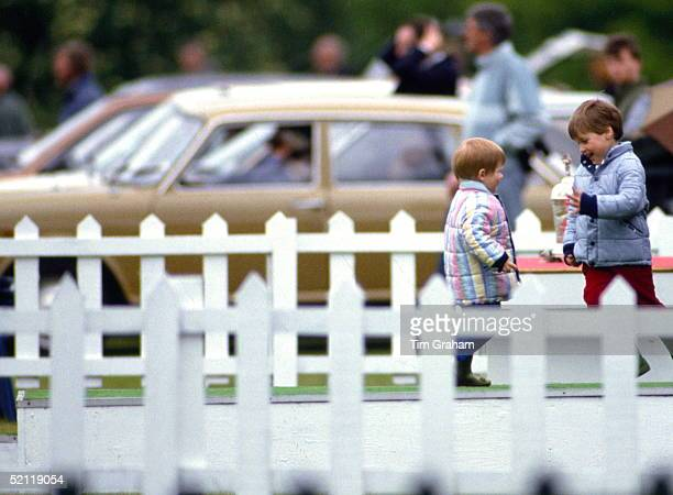 Prince William And Prince Harry Playing Whilst Their Father Is Playing Polo