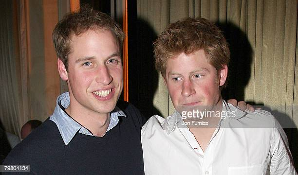 Prince William and Prince Harry pose at the O2 England World Cup after party at L'Etoile on October 20 2007 in Paris France