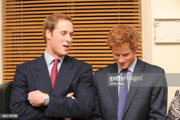 Prince William and Prince Harry share a joke at the launch of the Henry Van Straubenzee Memorial Fund at the Troubadour Clib January 8 2009 in London...