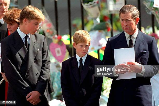 Prince William And Prince Harry With Prince Charles Holding A Funeral Programme At Westminster Abbey For The Funeral Of Diana Princess Of Wales