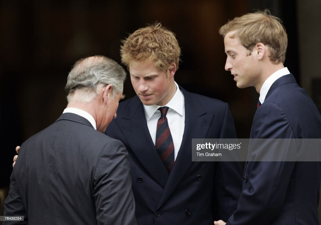 Prince William and Prince Harry with their father Prince Charles, Prince of Wales at the 10th Anniversary Memorial Service For Diana, Princess of Wales at Guards Chapel at Wellington Barracks on August 31, 2007 in London, England.