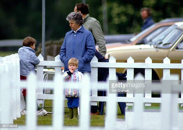 Prince William And Prince Harry With Their Nanny Olga Powell Watching Their Father Play Polo