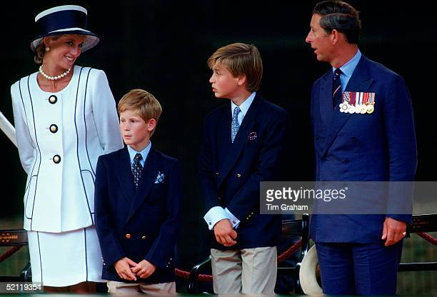 Prince William And Prince Harry With Their Parents Diana Princess Of Wales And Prince Charles Watching The Vj Day Parade In Pall Mall The Princess Is...