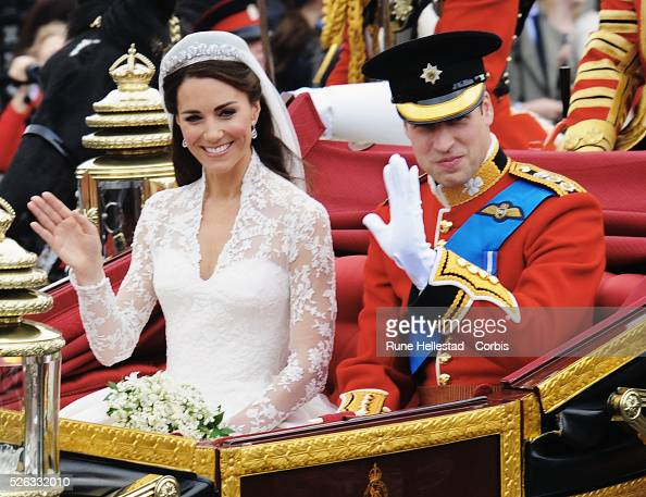 HRH Prince William and Princess Catherine in the procession after their Royal wedding at Westminster Abbey