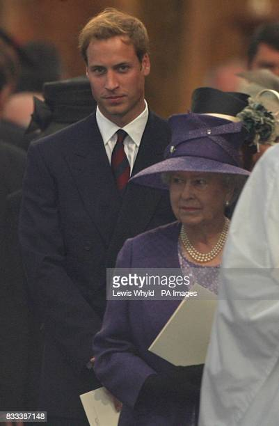 Prince William and The Queen leave the Service of Thanksgiving for the life of Diana Princess of Wales at the Guards' Chapel London PRESS ASSOCIATION...