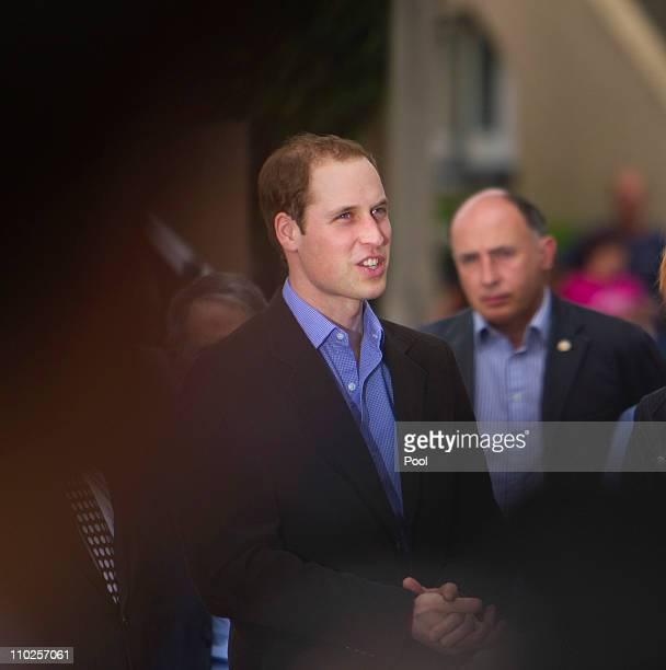 Prince William arrives at the Christchurch Arts Centre on March 17 2011 in Christchurch New Zealand His Royal Highness is in New Zealand for two days...