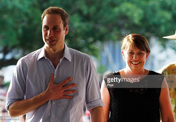 Prince William arrives with Queensland Premier Ana Blight at at the Cruise Liner Terminal on March 19 2011 in Cairns Australia Prince William is in...