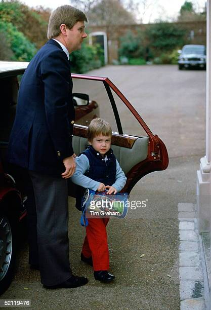 Prince William Arriving By Car At His Home Kensington Palace With His Bodyguard After Attending Morning Nursery School The Prince Is Carrying A Bag...