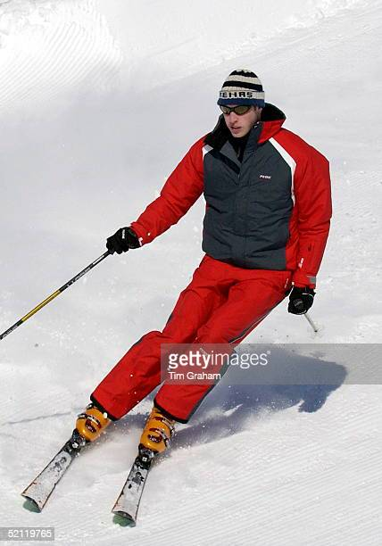Prince William At A Photocall During A Skiing Holiday With His Father