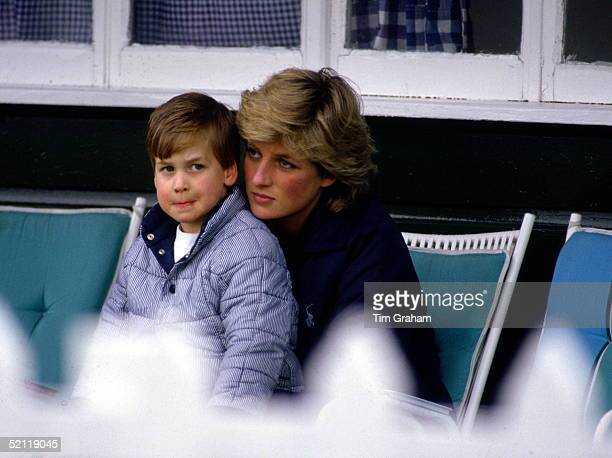 Prince William At Guards Polo Club Being Comforted By His Mother Princess Diana