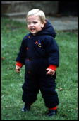 Prince William at his first official photocall in the garden at Kensington Palace London 14th December 1983