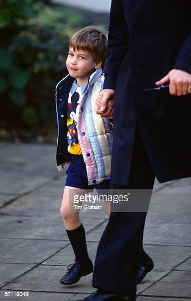 Prince William At Nursery School Holding The Hand Of His Bodyguard