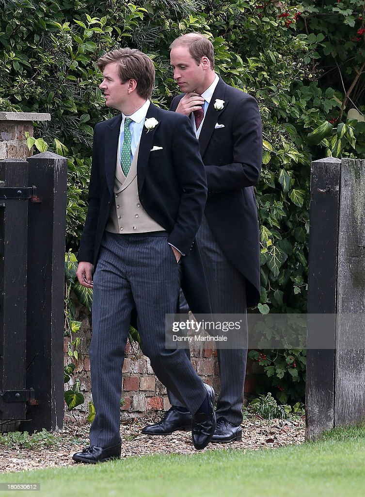 Prince William attends the wedding of James Meade and Lady Laura Marsham at The Parish Church of St. Nicholas in Gaytonon September 14, 2013 in King's Lynn, England.