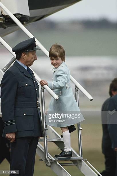 Prince William boards a plane at Aberdeen Airport Scotland 14th April 1987