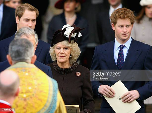 Prince William Camilla The Duchess of Cornwall and Prince Harry leave HRH Queen Elizabeth II and Prince Phillip The Duke of Edinburgh's service...