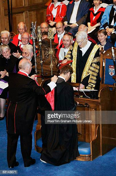Prince William collects his 21 Master of Arts Degree in Geography at the graduation ceremony at St Andrew's University in St Andrews on June 23...